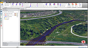 Extract HEC-RAS cross sections from 3D digital elevation terrain data. Utilize AutoCAD Civil 3D surfaces, MicroStation surfaces, contours, TINs, DTMs, DEMs, survey points, LiDAR, and other external digital elevation terrain data.